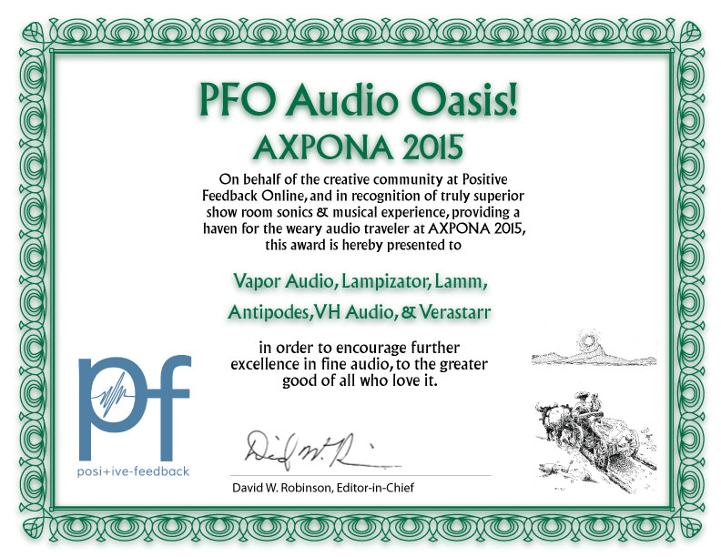 Vapor Audio Oasis Award Axpona 2015